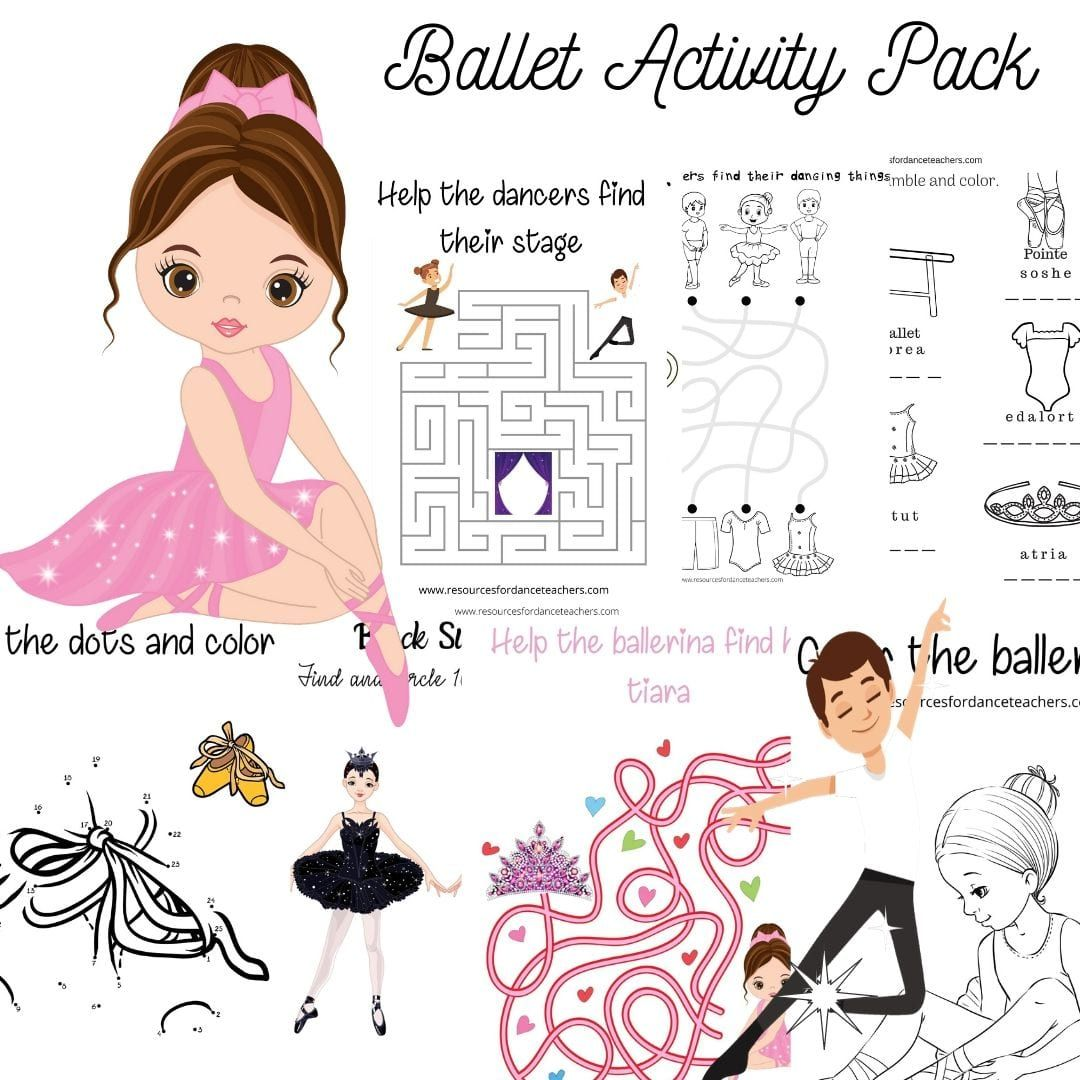 Online Zoom Dance Class Resource Kit Ballet Activity Pack Dance Coloring Pages