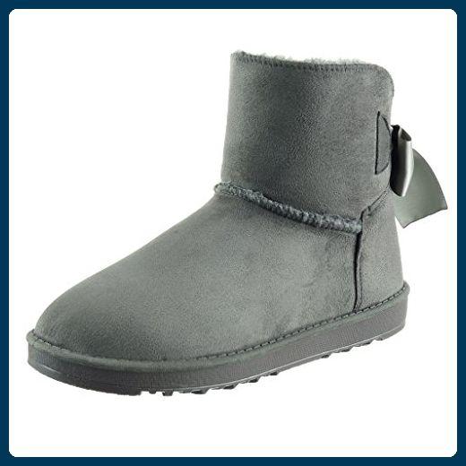 Angkorly - damen Schuhe Stiefeletten - Schneestiefel - Schnürsenkel aus  Satin Blockabsatz 2.5 CM - Grau 16-516 T 38 - Stiefel für frauen  ( Partner-Link) e3582546e1