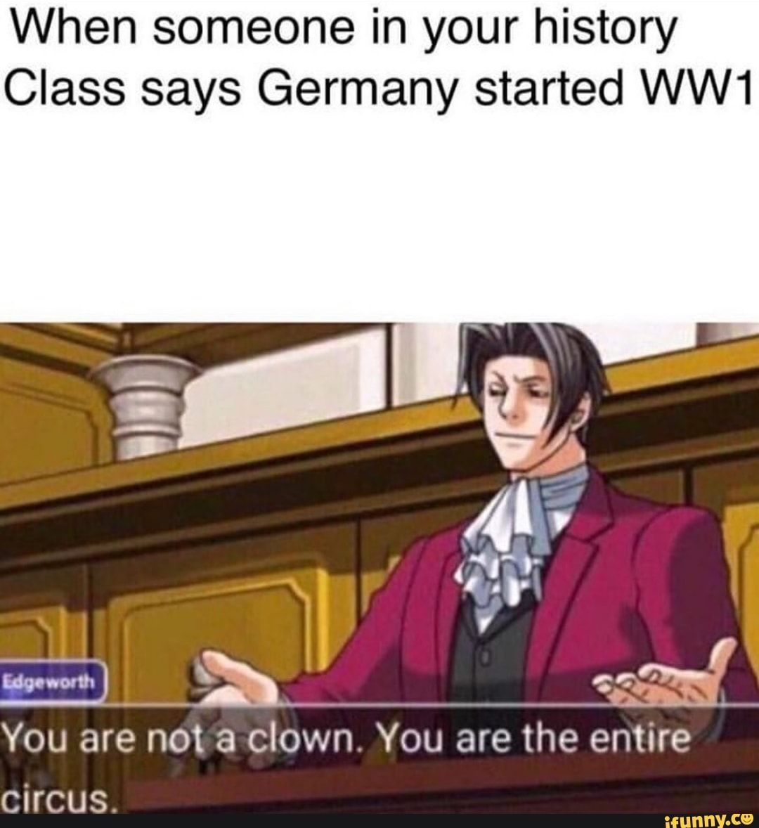 When someone in your history Class says Germany started