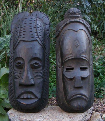 Tribal African Primitive Wood Mask Wall Decor Set Of 2 Tiki Bar 20