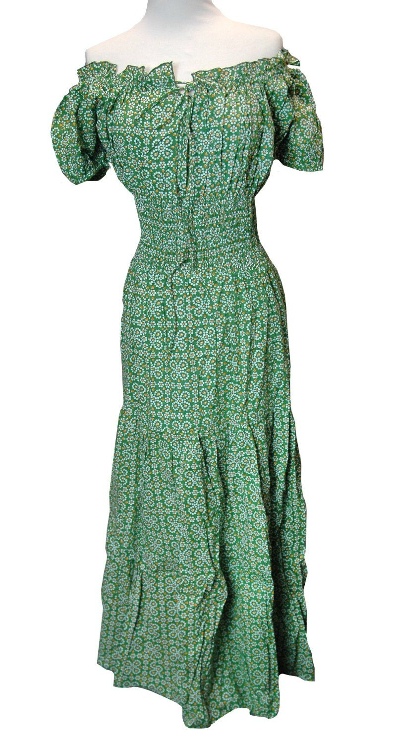 Green dotted floral peasant smocked dress