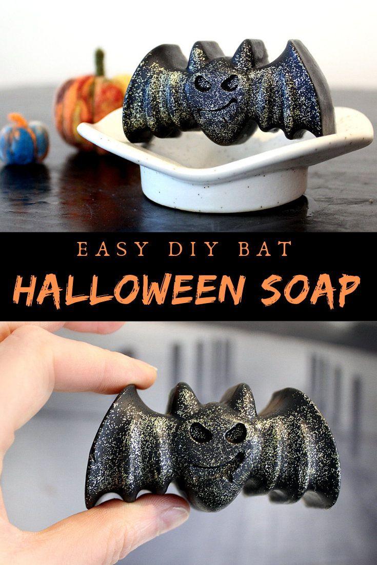 Diy halloween bat soap recipe with biodegradable ecofriendly