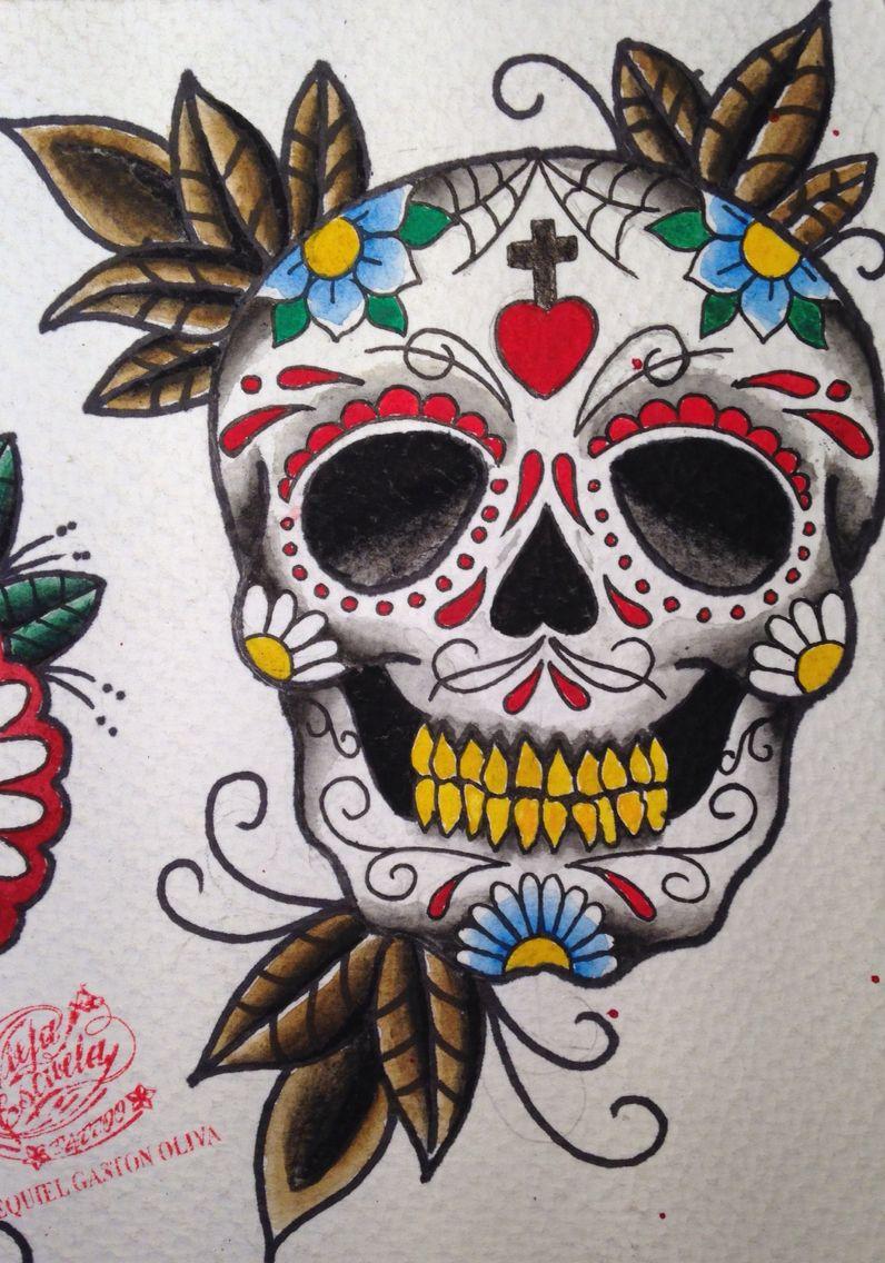 Calavera Tattoo Flash traditional old school tattoo flash sugar skull / calavera