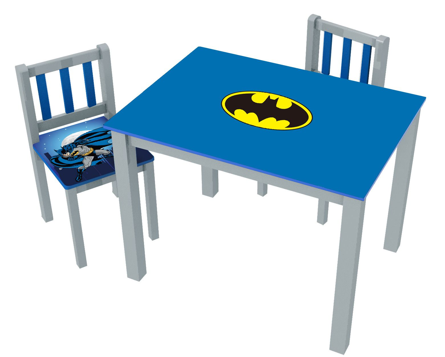 batman childrens table and chairs desk chair india kids 3 piece rectangle set room