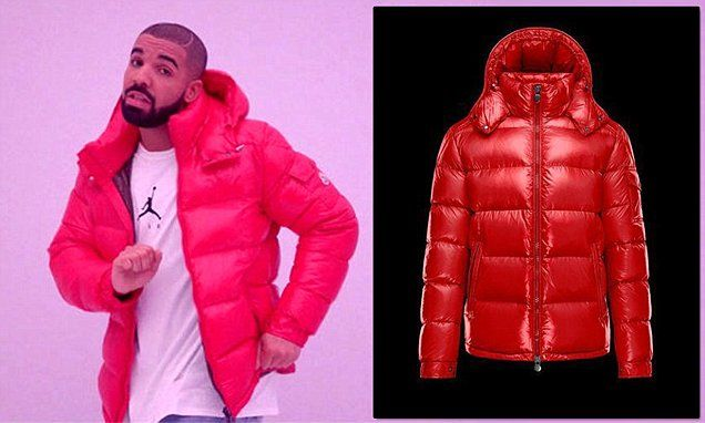 """Red Moncler Maya bomber jacket worn by Drake in his video """"Hotline Bling"""""""