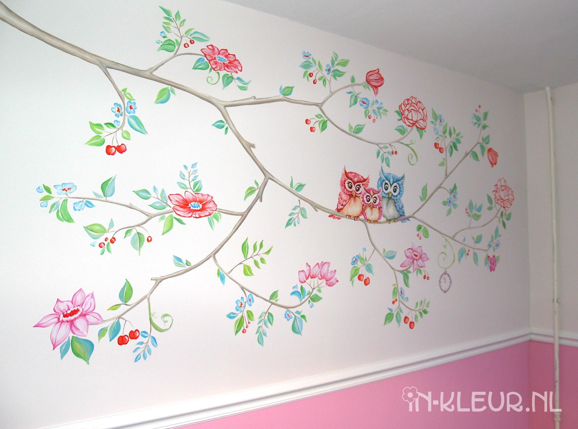 Bloesem muurschildering meisjeskamer - IN-KLEUR Wandschilderingen ...