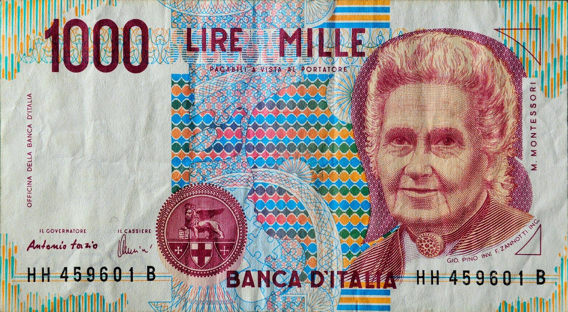 Italian Lira | 1000 italian lira (Maria Montessori ... Italian Money