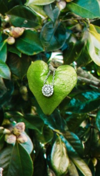 This elegant diamond pendant has a ravishing center diamond surrounded by pavé-set diamond accents, giving the appearance of a larger center diamond.