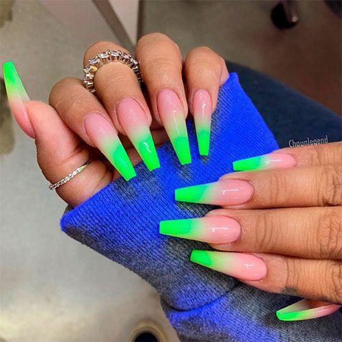 Cute Long Coffin Shaped Neon Green Ombre Nails For Summer 2019