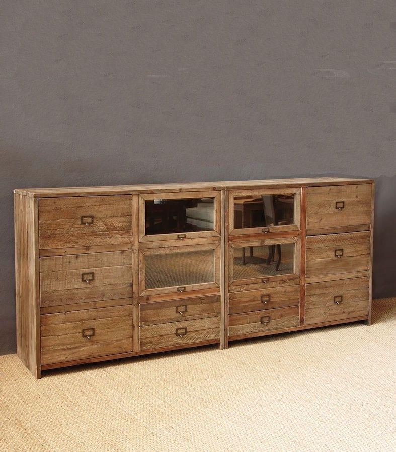aparador de madera reciclada con puertas y cajones de estilo ...