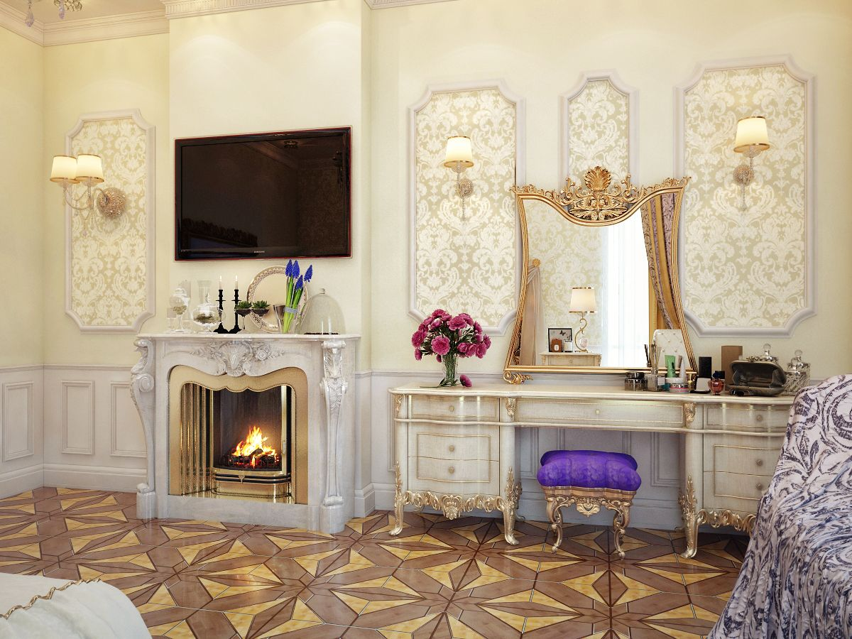 With a Beautiful Ornate Fireplace...and a Flat Screen television of course
