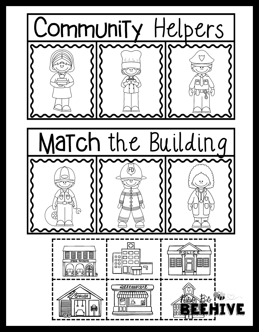 worksheet Community Helper Worksheets community helpers match the building social studies pack for entire kindergarten year