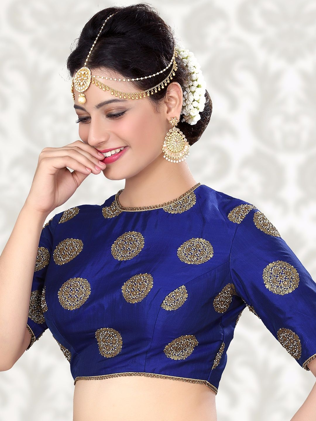 b040fa54fb3ae Attractive Raw Silk Blue Ready Made Blouse For price or detail do whatsApp  +91-9913433322