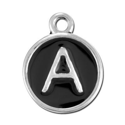 Black Enamel Alphabet Letter Charm