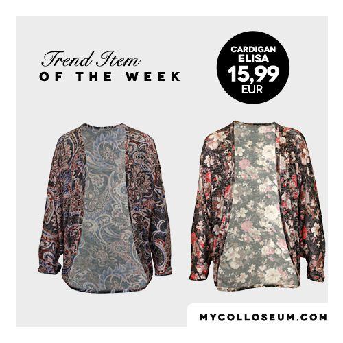 Es gibt so viele tolle Styles in unserer neuen Kollektion. Unser Favorit diese Woche ist ein Cardigan mit Paisley- oder Blumenmuster.#itemoftheweek @ www.mycolloseum.com