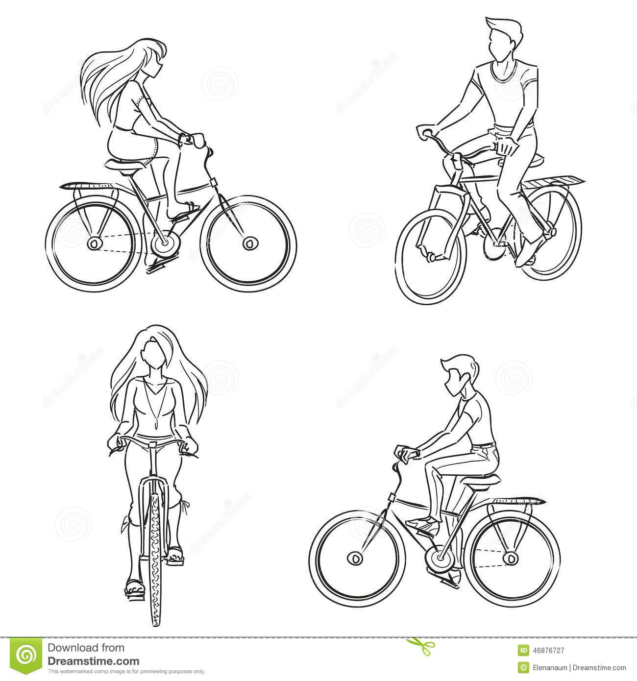 Man And Woman Riding A Bicycle Bicycle Drawing Bicycle