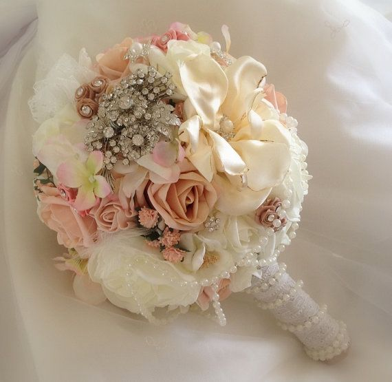 Vintage peach / coral brides pearl,lace,brooch wedding bouquet of ...