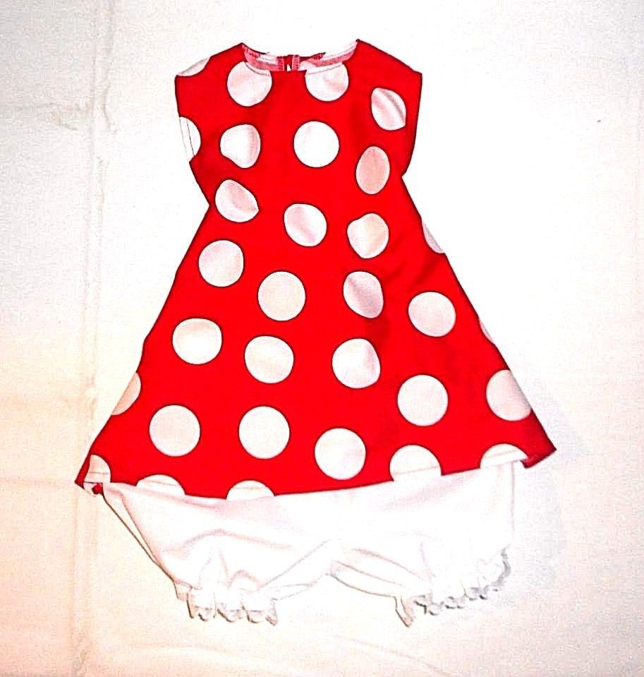 Toddler Minnie Mouse Sun Dress halter top w/lace bloomers 1-5 yrs Disney bound #Handmade