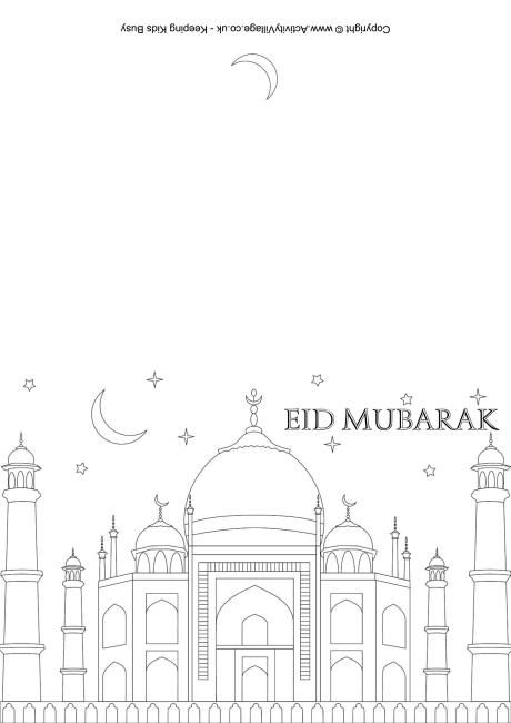 High Quality Eid Mubarak Colouring Card 2 Within Eid Card Templates