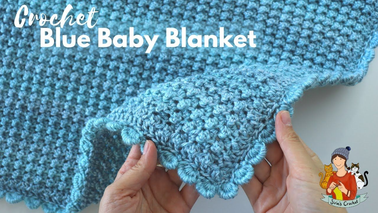Crochet Easy Blue Baby Blanket Beginner Friendly Tutorial In 2020 Crochet Baby Sweater Sets Blue Baby Blanket Easy Crochet
