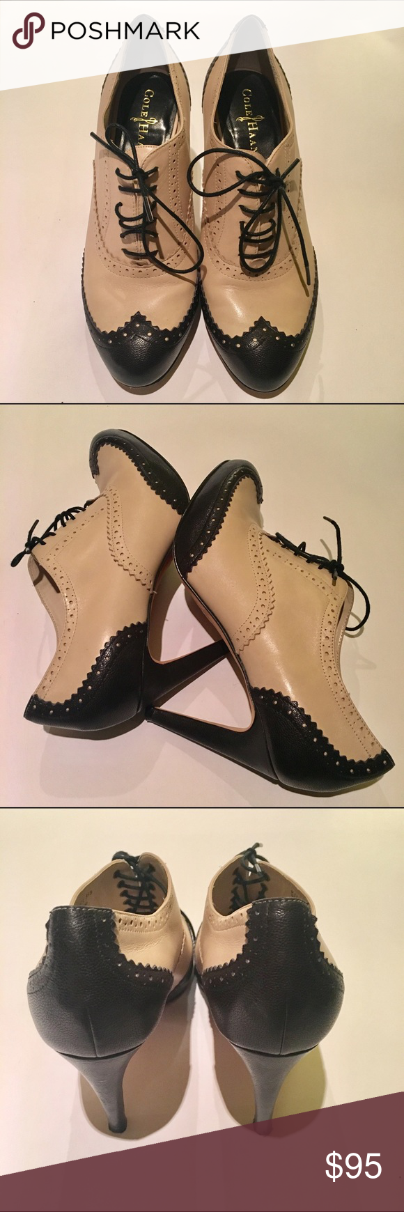 Cole Haan Luninda Air Oxford Pump Size 8 1/2 Cole Haan Lucinda Air Oxford Pumps. Size 8 1/2 -- but fit more like an 8. Round wingtip toe, lace-up vamp, leather, and stacked heel. 2.75 inch shaft height. 3.75 stacked heel. Leather upper, lining and sole. Pre-owned but still in amazing shape besides the scuffed up bottom of shoe from wearing them a couple times. Cole Haan Shoes Heeled Boots