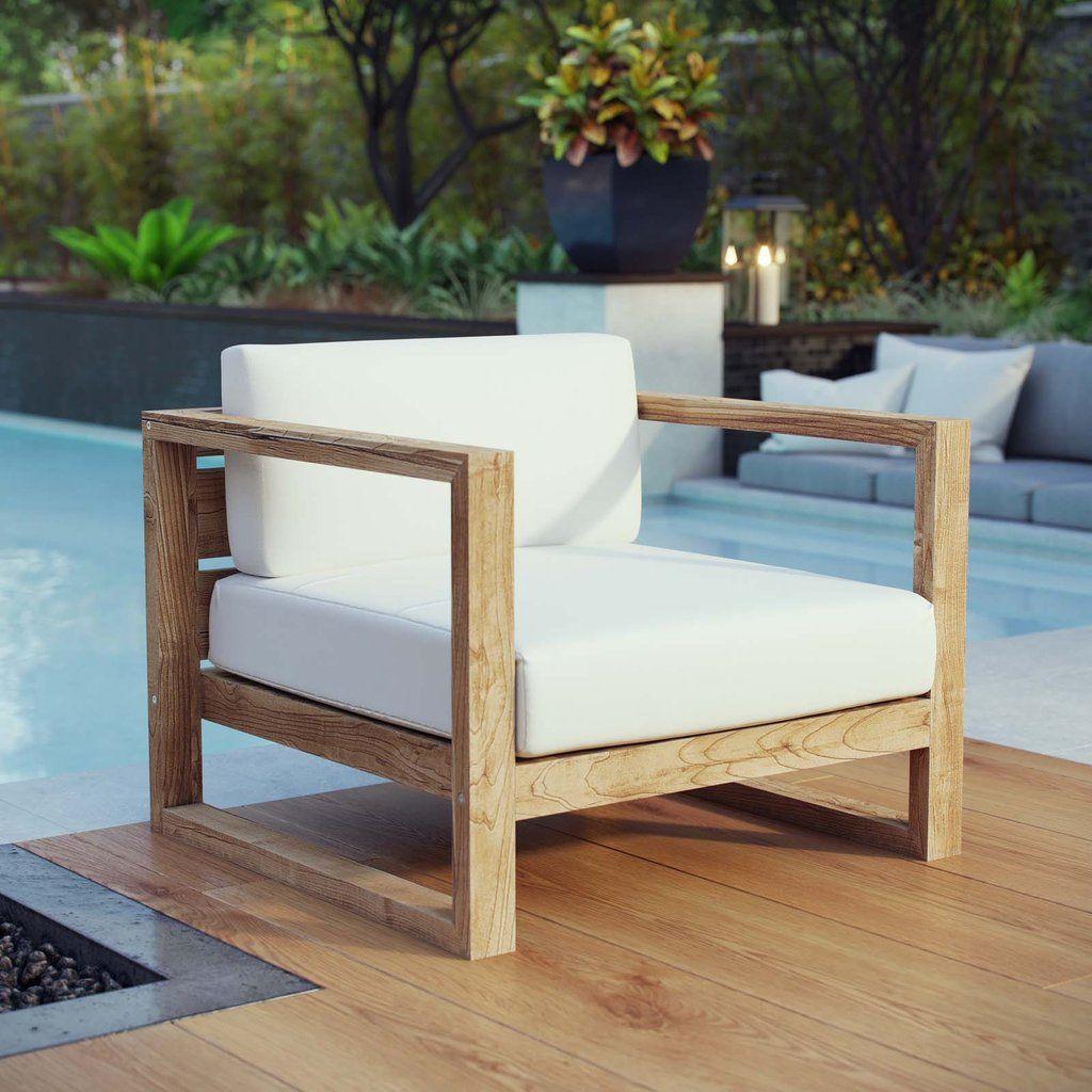 Modway Upland Outdoor Patio Teak Armchair In 2020 Outdoor Patio