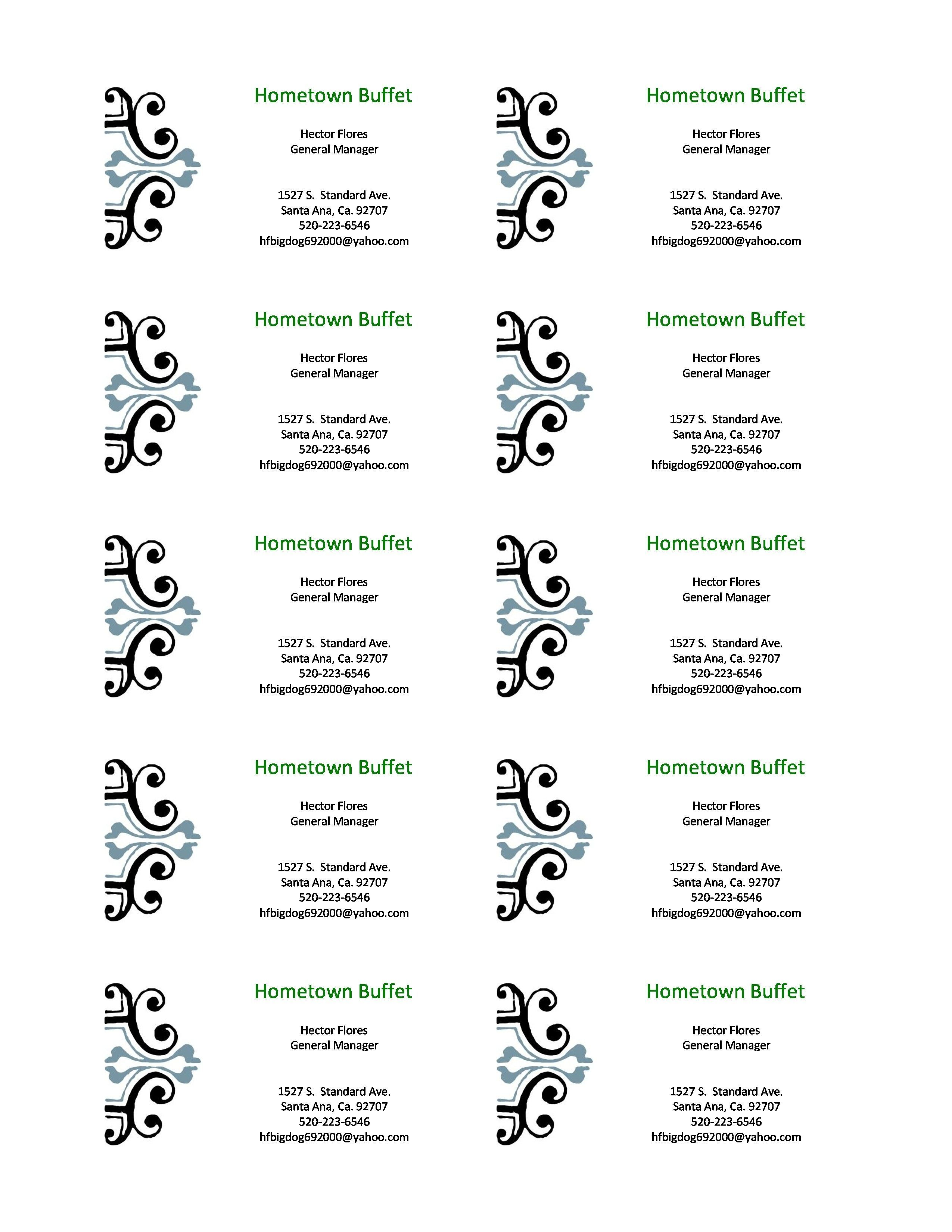 microsoft word blank business card template