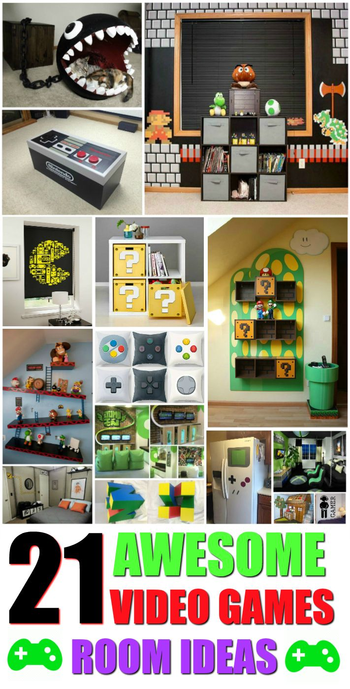 21 Truly Awesome Video Game Room Ideas U Me And The Kids Video Game Rooms Game Room Decor Video Game Decor