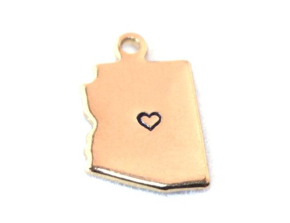 2x Gold Plated Arizona State Charms w/ Hearts  by DixieTrinkets