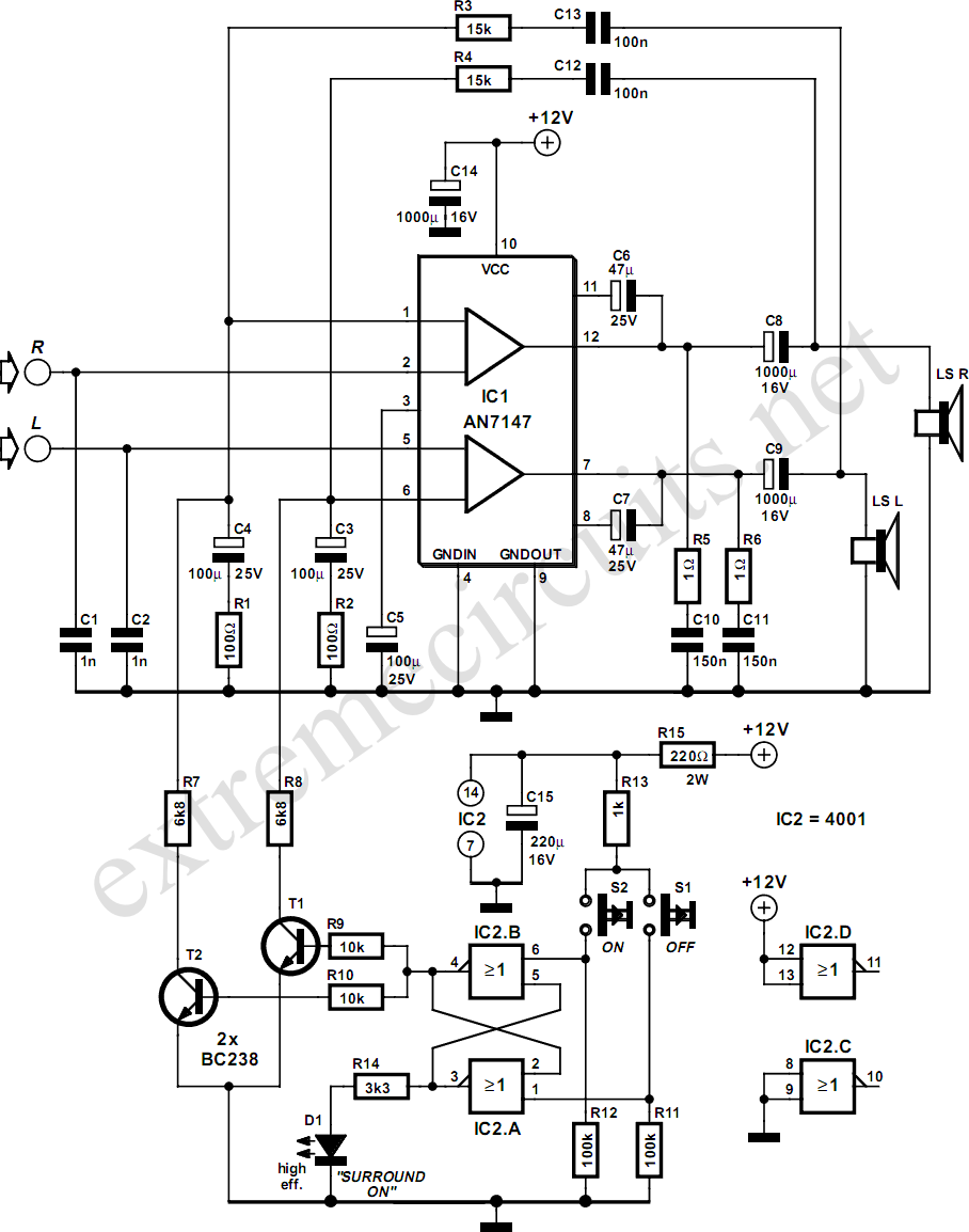 surround sound system circuit diagram electronic projects circuits
