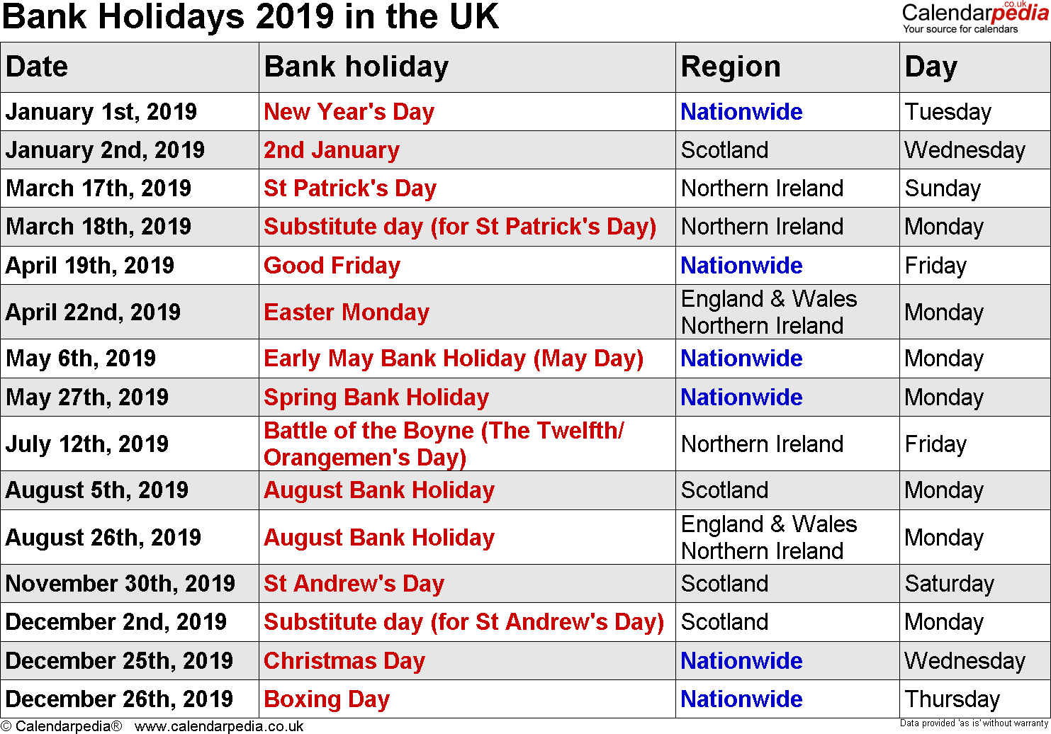 Uk Holidays 2019 Bank School Public Holidays 2019 For United