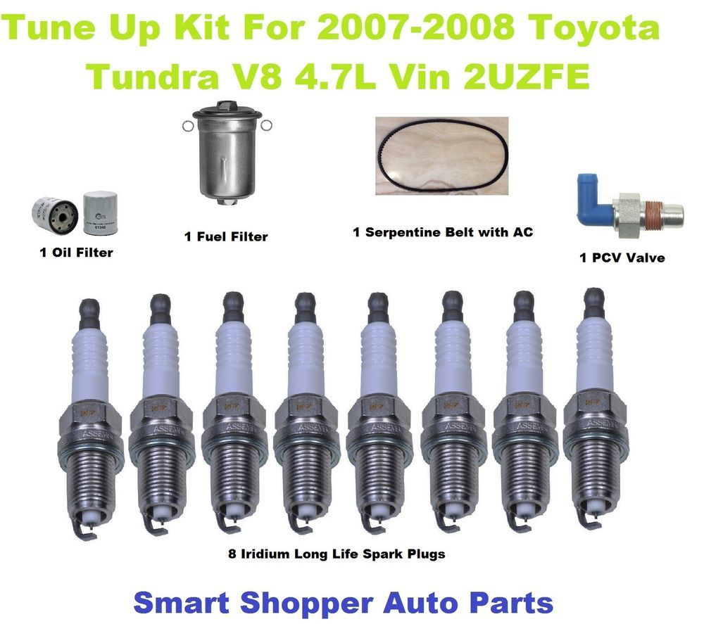 Spark Plug Oil Filter Fuel Pcv Valve Serpentine Belt For 07 1999 F150 08 Tundra