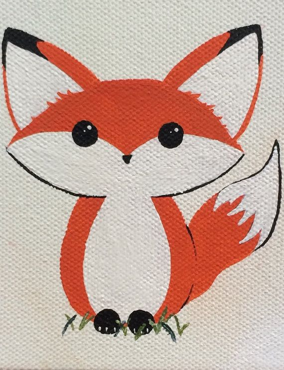 Tiny fox canvas painting 4x4 hand painted acrylic by for Painting with a twist fenton mi