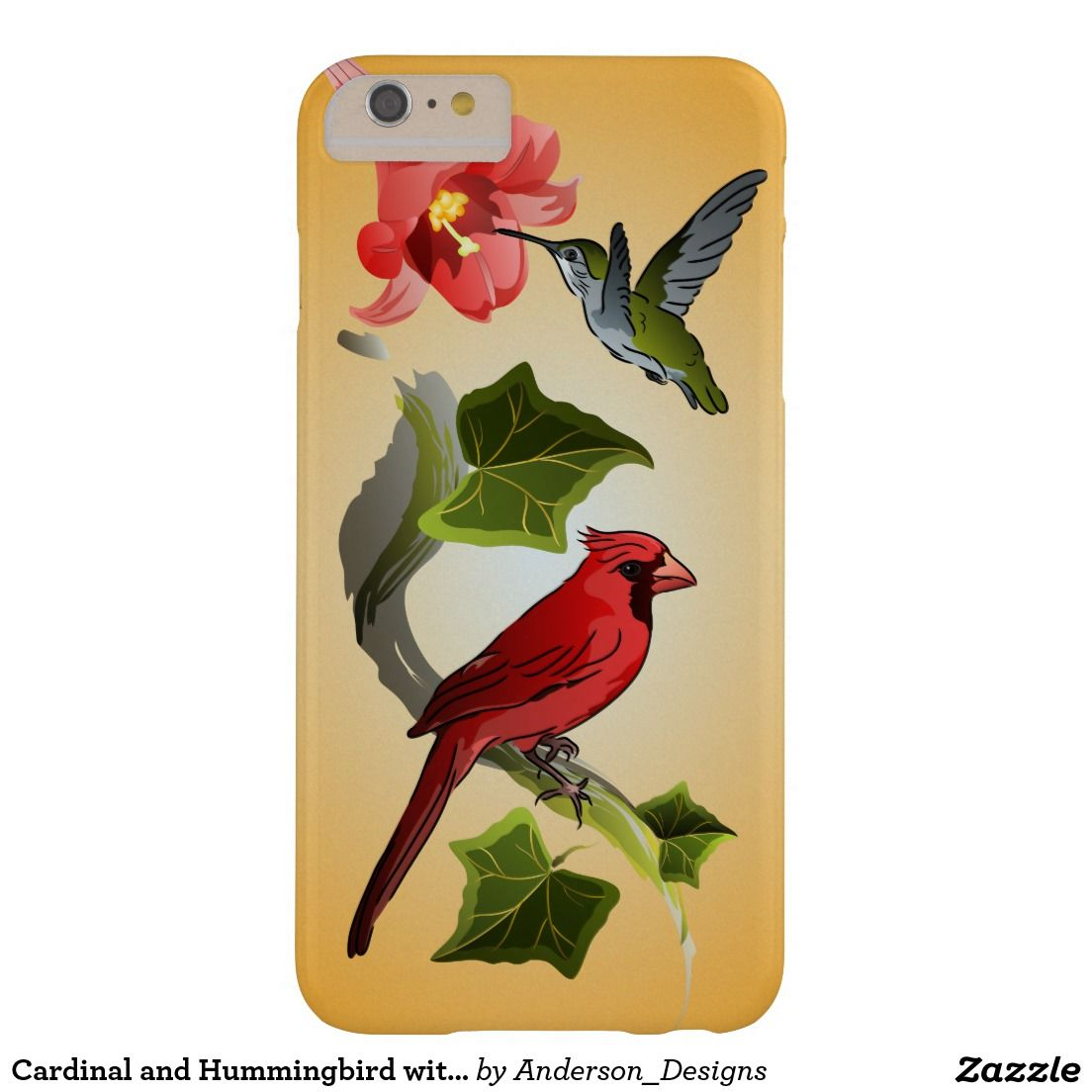 Cardinal and hummingbird with pink lily and ivy barely