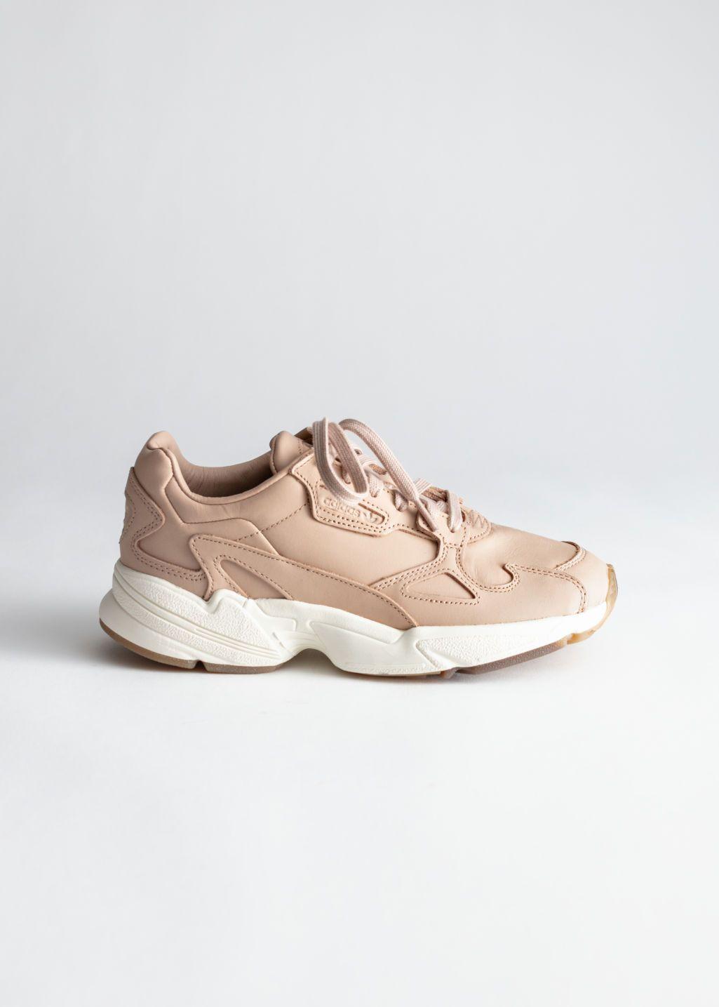 adidas originals premium leather falcon trainers in beige