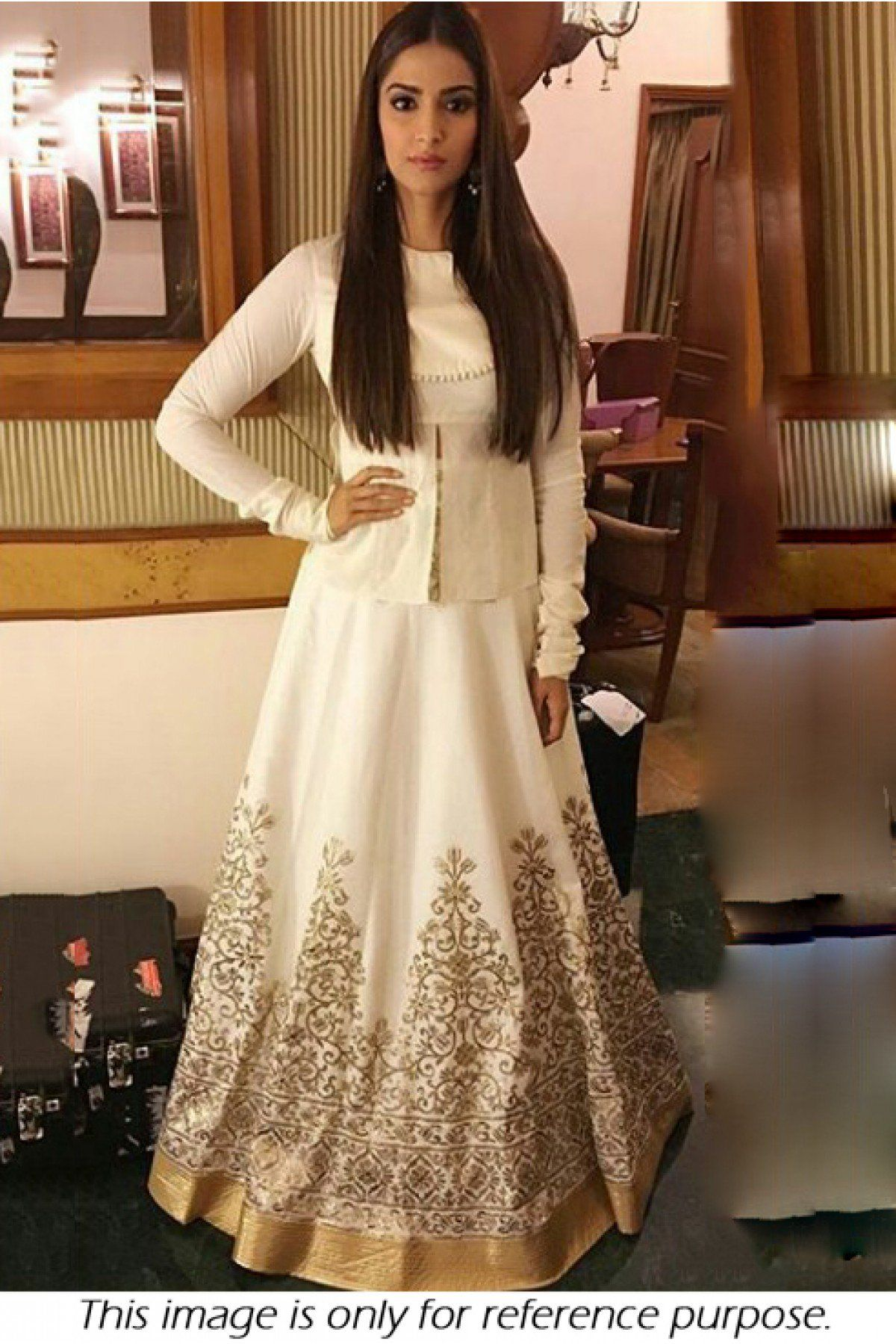 26a5db552c Buy Sonam Kapoor Shantoon Party Wear Lehenga Choli In White Colour for women  @ ninecolours.com. Worldwide Free Shipping Available!