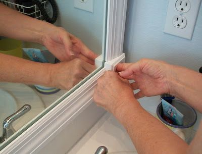 DETAILED instructions on how to frame a construction-grade mirror! Best pictorial out there! I'm upgrading ALL my mirrors!