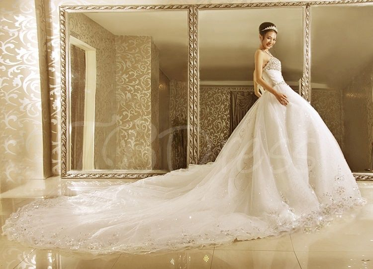 Elegant Ball Gown Strapless Crystal Beading Cathedral Train Wedding Dress