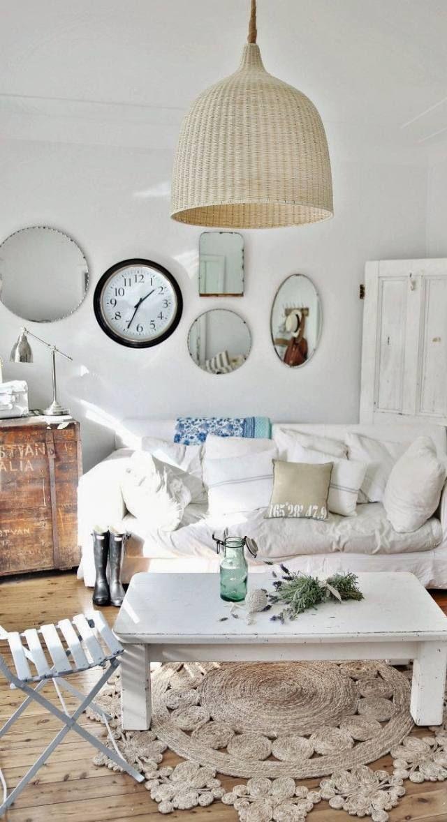 shabby chic wohnzimmer rahmenlose runde spiegel new diy ideas - shabby chic deko wohnzimmer