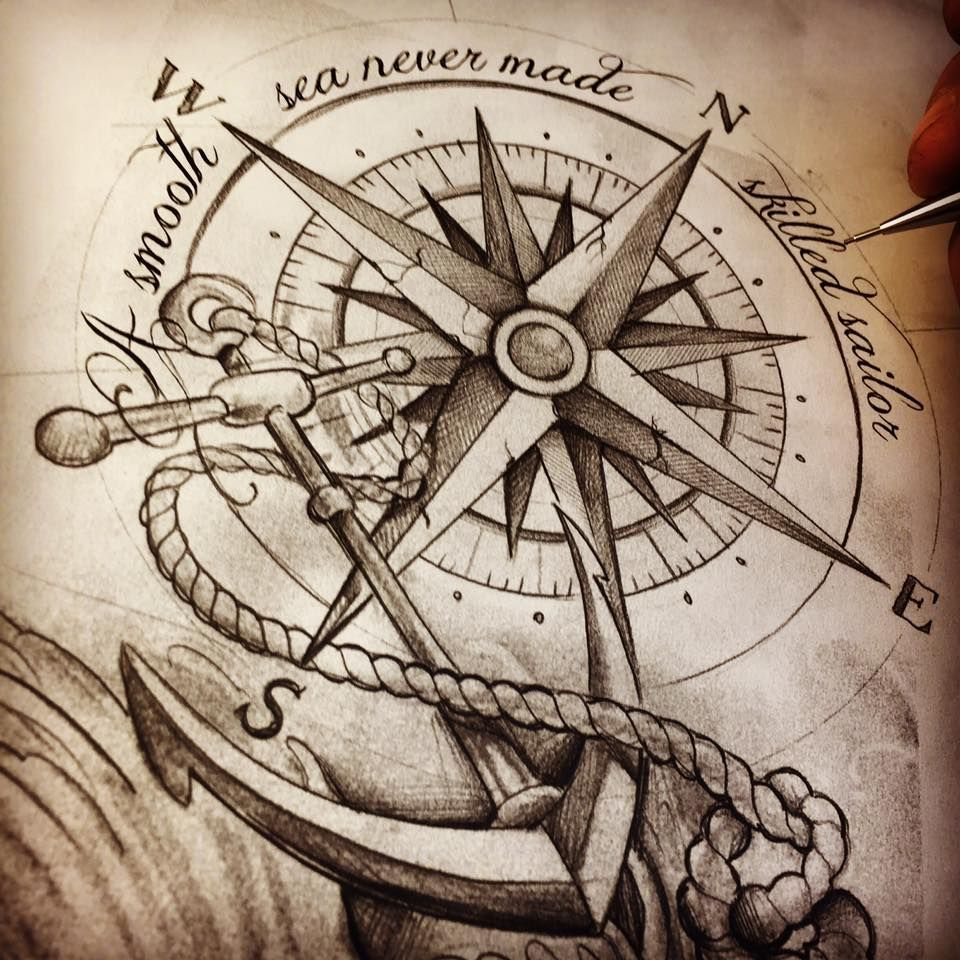 Compass Anchor Tattoosketch Cool Tatts Tattoos Anchor Tattoos