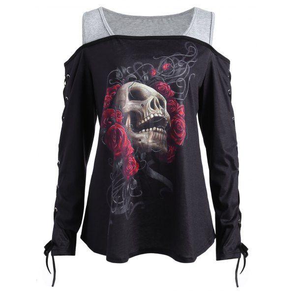 ec3944f5232 Skull Rose Plus Size Cold Shoulder T-shirt - Black 5xl | fashion ...