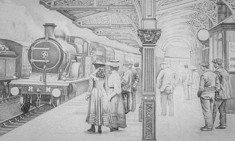 Disegni A Matita Scena Interno Stazione Ferroviaria Antica Treno