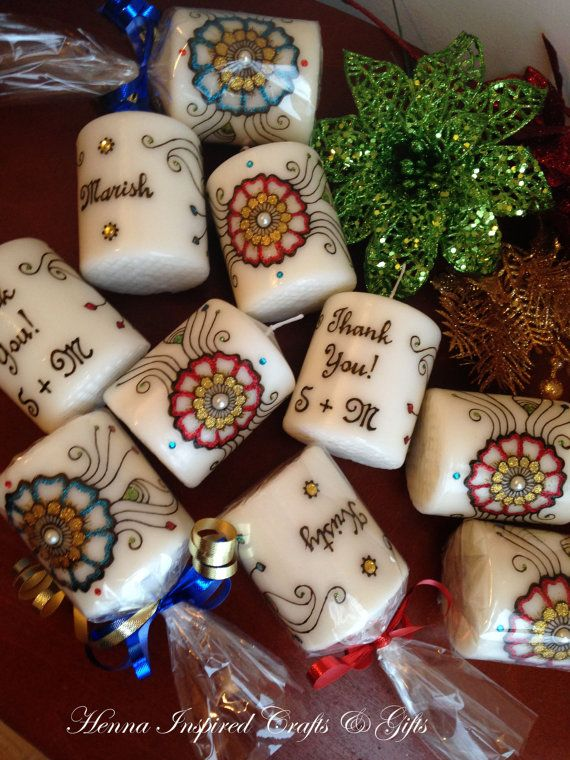 Personalized Candle Favors By Henna Crafts By Pramila Indian Henna Candles Candle Favors Personalized Candle Favors