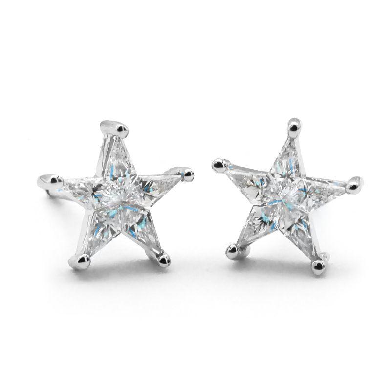 Diamond Star Earrings Five Pointed Stud