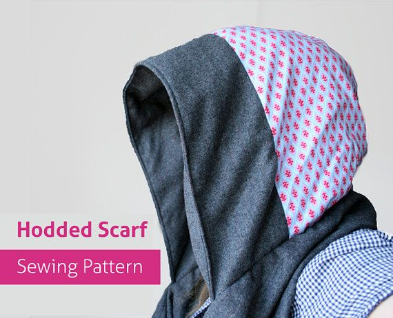 Pdf Reversible Scoodie Hooded Scarf Pdf Sewing Pattern Hoody Diy