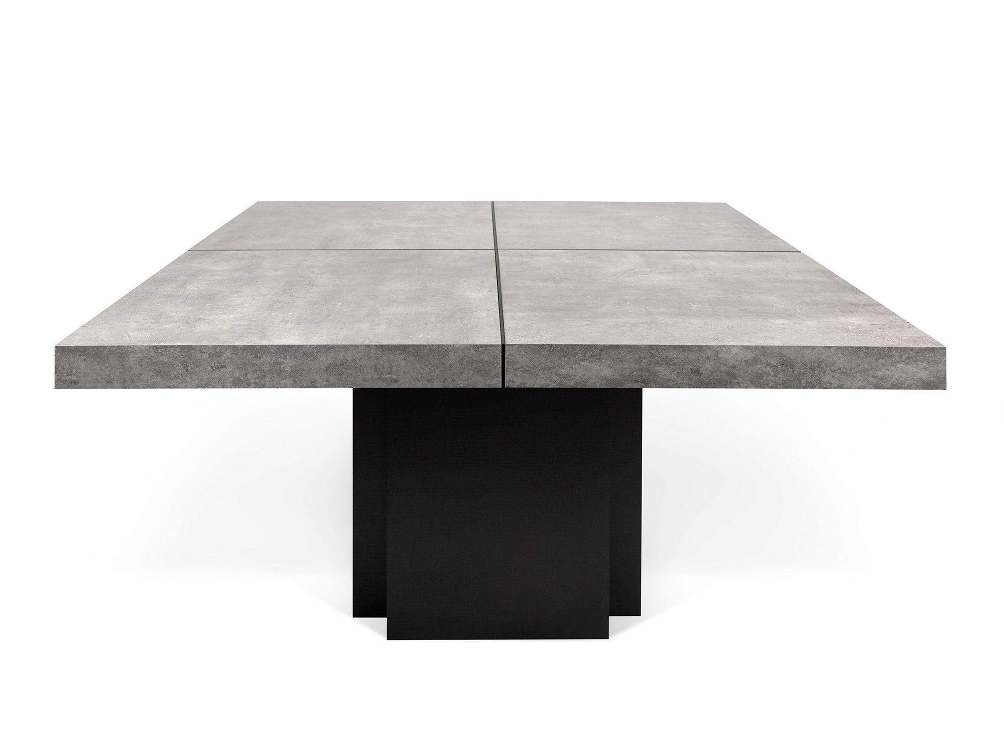 table manger carre en bois effet bton l150 cm dusk