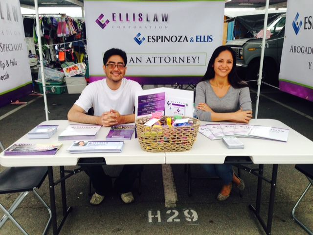 Chris Chong and Lorena Espinoza at the Los Angeles Harbor College Swap Meet this weekend educating the community on immigration and personal injury rights. #LosAngeles #community #outreach #personalinjury #immigration #rights