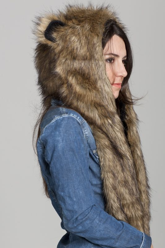 03e4c642e39 Wild Grizzly Bear Faux Fur Animal Hat Hood with Paws (Mogar s