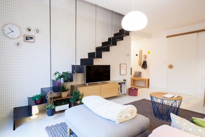 Suelo blanco puerta corredera estilo n rdico escandinavo dise o n rdico decoraci n pisos - Diseno de interiores pisos pequenos ...