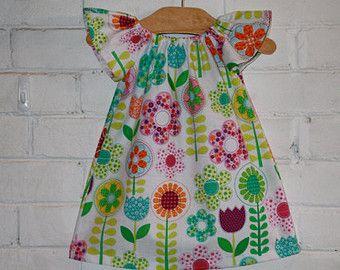 Girl's Dress in Michael Miller Flower Fabric - Sizes 6m - 8 Yrs.